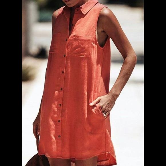 VICI Red Button Down Linen Dress